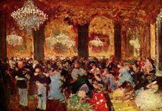 Dinner at the Ball via Edgar Degas Size: 46x67 cm Medium: oil on canvas