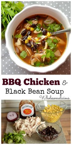 BBQ Chicken and Black Bean Soup. Dinner done in less than 15 minutes!