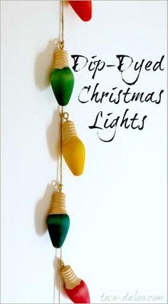 Dip-Dyed Christmas Lights at Twodaloo