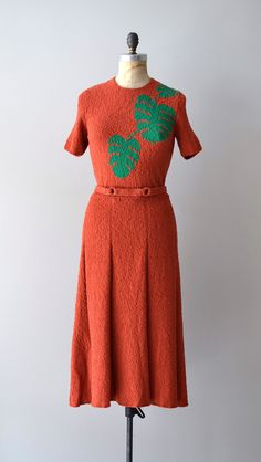 1930s dress / boucle wool 30s knit dress / Foglia di Palma. $224.00, via Etsy.