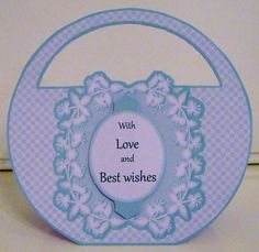 Sky Blue Polka dot bag shaped card Kit 3 by Pam Stubley