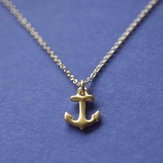 14k Gold Vermeil Anchor Necklace