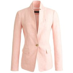 J.Crew Regent Blazer ($170) ❤ liked on Polyvore featuring outerwear, jackets, blazers, petite, evening jackets, linen blazer, lightweight jackets, button jacket and j crew jacket