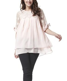 Look at this Simply Couture Pink Lace Pleated Tunic - Women on #zulily today!