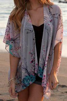 Collarless Floral Print Kimono Blouse