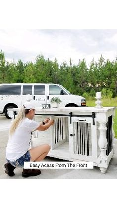 Custom Dog Kennel, Diy Dog Kennel, Double Dog Crate, Farmhouse Dining Table Set, Diy Dog Crate, Dog Spaces, French Dogs, Husky Husky, Kids Ride On