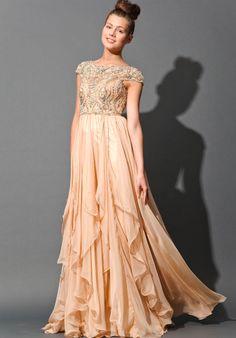 Floor length Jovani cap sleeve dress. low back, but not backless. Evening Dresses, Gowns Dresses, Prom Gowns, Chiffon Prom, Jovani Prom, Prom 2014, Cap Sleeve, Jovani 79132, Prom Dresses