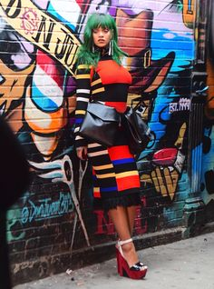 Rihanna on the set of a photo shoot in NYC