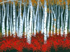 "Artist Michael Swanson; Painting, ""Autumn Birch"""