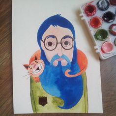 #watercolor #martonszimona #manwithbeard #bluebeard # #manwithcat #handdrawn #illustration #cutecat #redcat #manwithglasses #jonlennon #catlove #greenshirt #chill #animallove #bookillustrator #childrenbookillustration Book Illustration, Watercolor Illustration, Illustrations, Jon Lennon, Men With Cats, Red Cat, Mens Glasses, Green Shirt, Bearded Men