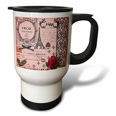 3dRose tm_76593_1 Stylish Vintage Pink Paris Collage Art Eiffel Tower Red Rose Travel Mug 14Ounce Stainless Steel -- Check out the image by visiting the link. (This is an affiliate link) #CoffeeMug
