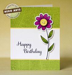 Hero Arts + Sizzix Garden Flowers.  Card by Jennifer McGuire.