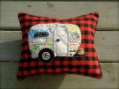 Little Vintage Camper Pillow decorative accent by BSoriginals