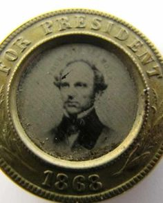 Rare Antique 1868 Presidential Campaign Pin Button Ferrotype Horatio Seymour yqz
