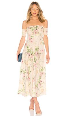 Iris Shirred Bodice Maxi Dress in Cream Floral