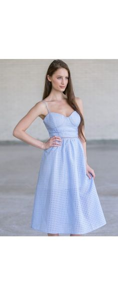 Lily Boutique Picnic in the Park A-line Midi Dress in Blue, $42 Sky Blue Midi Dress, Pale Blue Sundress, Checkered Blue Dress, Cute Summer Dress www.lilyboutique.com