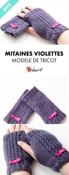 Chaud Tricot Long Mitaines-Violet-Hiver Noël Idée Cadeau