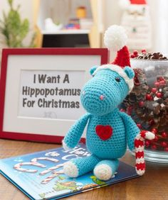I Want a Hippopotamus for Christmas free crochet pattern in Super Saver yarn. If you love the song, you'll want to crochet a hippo for a special kid in your life (or maybe for yourself). This huggable hippo has a removable hat and a wonderful personality. Crochet Crafts, Crochet Yarn, Crochet Toys, Crochet Projects, Yarn Crafts, Crochet Ideas, Crochet Stitches, All Free Crochet, Love Crochet