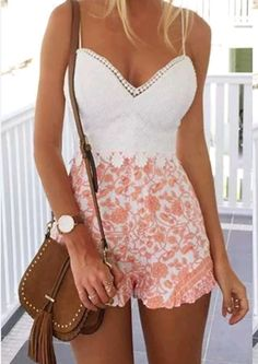 White and peach lace playsuit