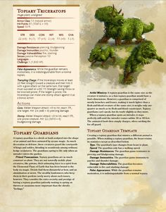 DnD Homebrew — Topiary Guardians + Template by Shylocv Dungeons And Dragons 5e, Dungeons And Dragons Homebrew, Magical Creatures, Fantasy Creatures, Plant Monster, Dnd Stats, Dnd 5e Homebrew, Dragon Rpg, Dnd Monsters