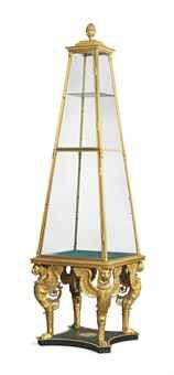 gilt-bronze vitrine in the Russian Empire style, late 20thC, 110Hx 29Wx29D,15K gbp