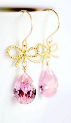 Pink + gold bow teardrop earrings