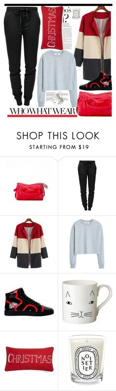 """""""Netflix Binge and PaoloShoes"""" by spenderellastyle ❤ liked on Polyvore featuring Who What Wear, T By Alexander Wang, MANGO, Donna Wilson, Levtex and Diptyque"""
