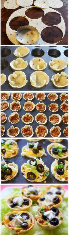 """Taco Bites I cut 4.5"""" circles from tortilla shells, placed them in a muffin pan sprayed with nonstick cooking spray. Add taco meat, refried beans, shredded cheddar cheese, and sliced green onions. Bake at 425 for 12-15 min. Yum!!!!"""