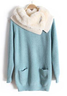 Blue Fur Pockets Rhinestone Lapel Knitted Cotton Sweater