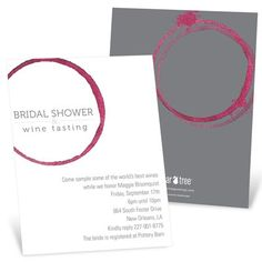 Bridal Shower Invitations -- Share the Wine. A bridal shower and a wine tasting in one? What a fun idea! These are the perfect bridal shower invitations for the event, with a wine-stained-napkin look that gets the theme across oh, so perfectly.