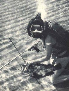 Old School Spear Fishing Girl