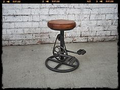 This bicycle stool takes unique to the next level. Made with genuine leather and complete with a bike chain, this is one purchase you will not regret. Industrial Stool, Vintage Industrial Furniture, Retro Furniture, Furniture Styles, Unique Furniture, Bicycle Bar, Retro Bicycle, Vintage Bar Stools, Leather Bar Stools