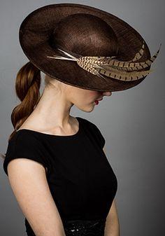 Rachel Trevor-Morgan :: Chocolate straw sharp sidesweep with pheasant feathers