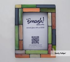 "Stained Glass Mosaic Picture Frame - ""Early Tulips"""
