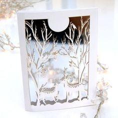 Christmas Card Laser Cut Silver Winter Wonderland - cards & wrap