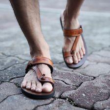 ByTheR Hombre Moda Casual exclusivas Sandalias Ojotas de Indio Marrón