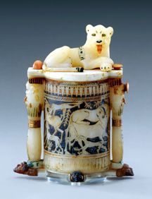 Egyptian, New Kingdom, Dynasty 18 (ca. 1332-1323 B.C.). Cosmetic Jar with a Recumbent Lion on the Lid. Calcite, ivory and gold. H. 26.7 cm; W. 22 cm. Thebes, Valley of the Kings, Tomb of Tutankhamen (KV 62).  So beautiful.