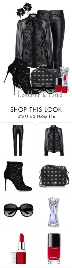 """Leather & Lace"" by jckallan ❤ liked on Polyvore featuring Yves Saint Laurent, Dolce&Gabbana, Alexander Wang, Lancôme, Clinique, Chanel, Lanvin and contestentry"