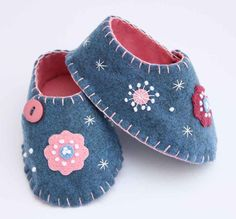 Blue baby shoes felt flower & button by PuffinPatchwork on Etsy, $45.00