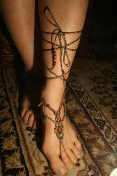 BAREFOOT SANDAL macrame  INDIAN love by Open0your0wings on Etsy, ₪110.00