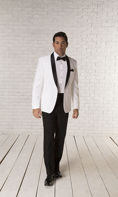 White dinner jacket with black lapel. Perfect for Black Tie Wedding Dinner Jacket, Black Tie Wedding, Suit Jacket, Mens Fashion, Formal, Jackets, Affair, Suits, Moda Masculina