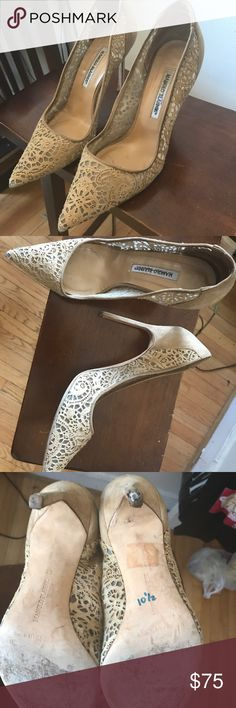 """[Manolo Blahnik] - nude lace heels - 41 Beautiful nude lace. 5"""" heels. These go with absolutely everything. A good classic, neutral shoe. Well worn, as shown by the pictures. Manolo Blahnik Shoes Heels"""