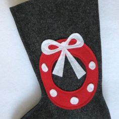 Felt Christmas Stocking  Wreath in Charcoal Grey by stitcholicious, $17.00