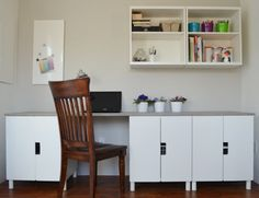 I bought three STUVA base cabinets with doors and 12 IKEA legs. I assembled the pieces and made a faux concrete tabletop for the Stuva desk.