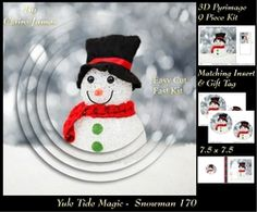 Yule Tide Magic   Snowman   3D Pyramid pyrimage   Insert   Gift Tag on Craftsuprint - View Now!
