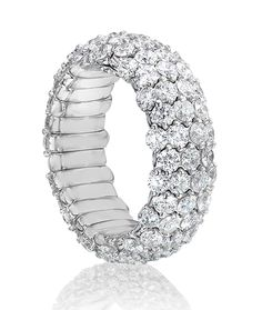 Cellini Jewelers 18 karat white gold Stretch Diamond Ring - Govind Soni.