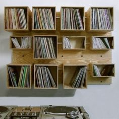 Louis record store offers new and used LP records, CD, Cassettes and more. Shop online or in our Saint Louis record store. Cd Storage, Vinyl Record Storage, Storage Ideas, Record Wall, Shelving Ideas, Crate Shelving, Storage Closets, Plywood Storage, Box Shelves