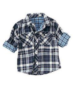 Lined Plaid Woven Shirt/Navy Plaid-Benjamin or Malachi (Crazy 8) $19.95