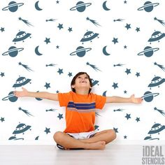 Paint as feature wall in a kids nursery or bedroom with this space,stars, moon, home decorating stencil. Also great for painting fabrics and furniture. See more at Ideal Stencils