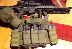 AR-15 and gear.